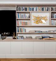 nowoczesna biblioteczka, meble biurowe, meble salonowe