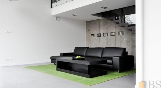 Kompleksowa realizacja domu, biurko czarne, nowoczesne biurko, meble do salonu