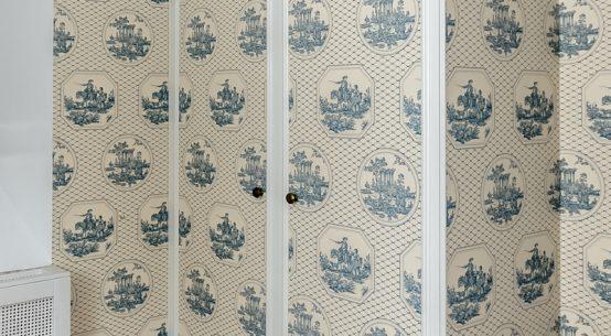 szafa z tapetą, szafa w stylu szwedzkim, nietypowe szafy z tapetą